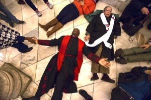 Faith leaders from New York Theological Seminary, 12/8/14 die-in at NY City Hall