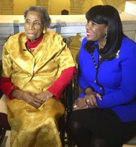 Amelia Boynton Robinson with U.S. Rep. Terri Sewell at the State of the Union Address, 1/20/15