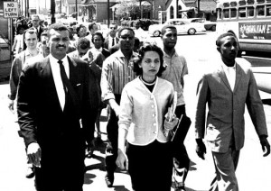 Diane Nash leading a march in Nashville, TN