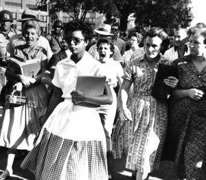 Elizabeth Eckford surrounded by mob