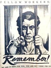 1917 poster depicting Ralph Chaplin behind bars