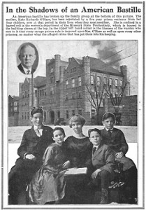 1919 article about O'Hare, pictured with her children, imprisoned at the MissourI State Penitentiary, with an inset of the warden