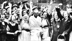 Gandhi visiting Lancashire, UK in 1931