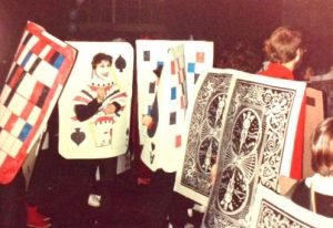 Pack of cards shuffling at NYC's Village Halloween Parade