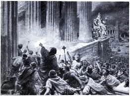 Illustration of the torching of the Great Library of Alexandria