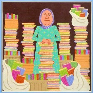 "Illustration by Jeanette Winter from ""The Librarian of Basra"""